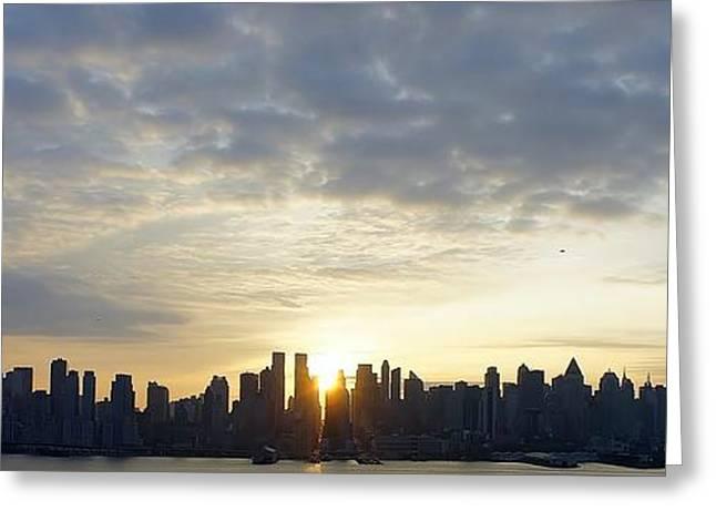 Nyc Sunrise Panorama Greeting Card by Lilliana Mendez