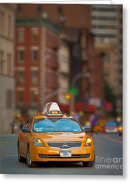 Taxi Greeting Card by Jerry Fornarotto