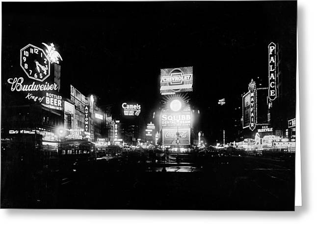 Nyc, Times Square, 1934 Greeting Card by Science Source