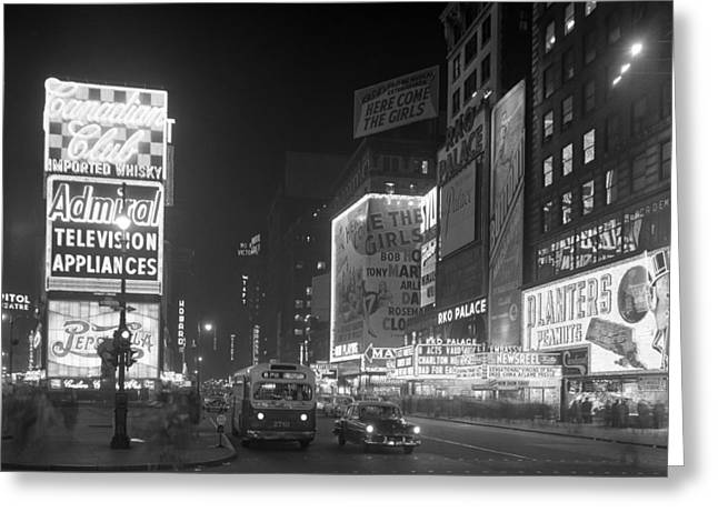 Nyc, Times Square, 1953 Greeting Card by Science Source
