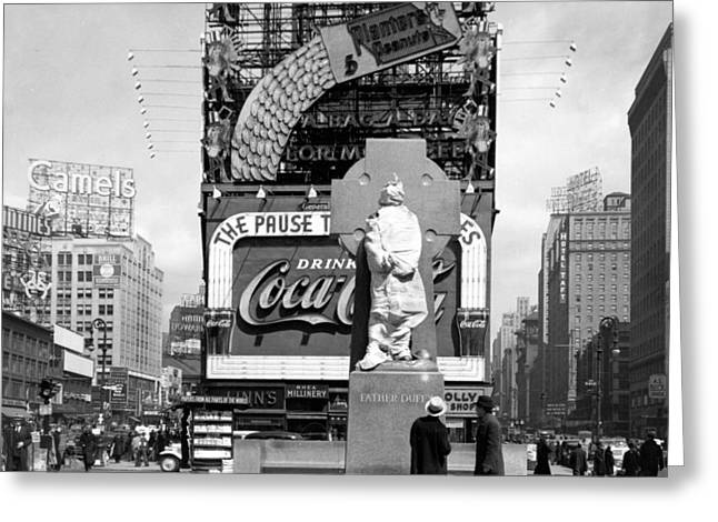Nyc, Times Square, Father Duffy Statue Greeting Card by Science Source