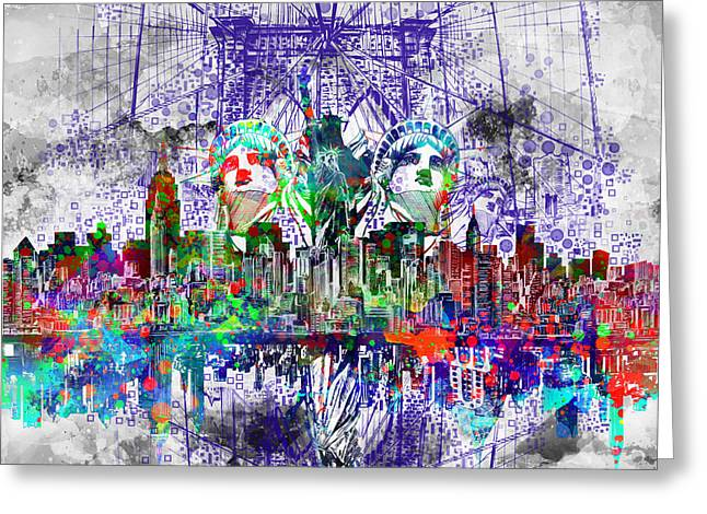 Nyc Tribute Skyline 4 Greeting Card by Bekim Art