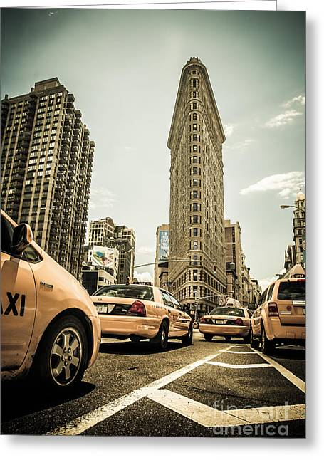 Nyc Yellow Cabs At The Flat Iron Building - V1 Greeting Card