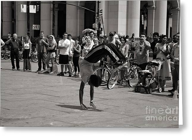 Greeting Card featuring the photograph Nycity Street Performer by Angela DeFrias