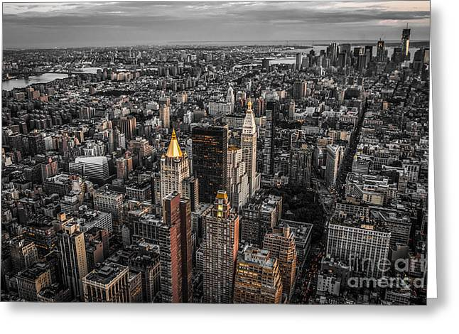 Nycs Golden Tops Greeting Card by Hannes Cmarits