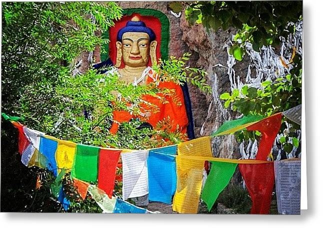 Nyetang Buddha And Prayer Flags Greeting Card