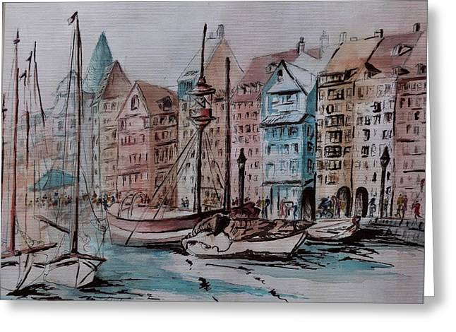 Enchanting Nyhavn Greeting Card by Csilla Florida
