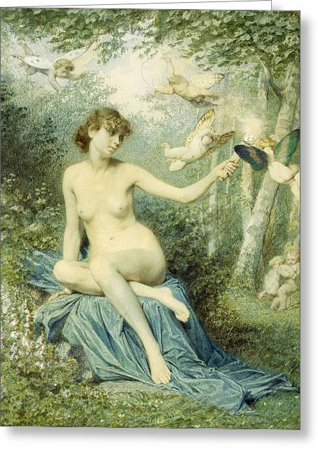 Nymph Driving Love Away With A Torch Greeting Card by Victor Florence Pollet