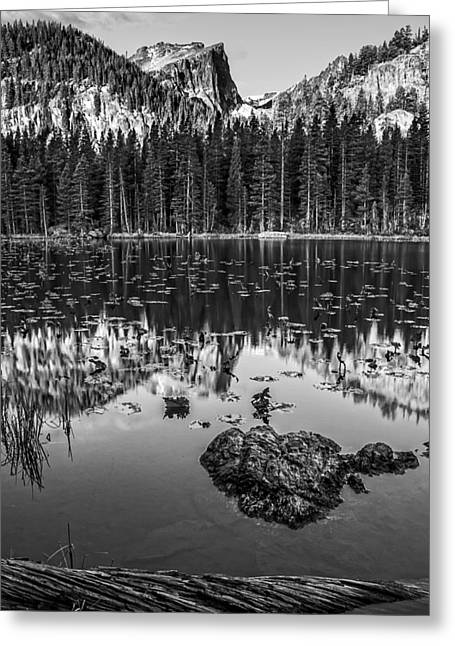 Nymph Lake Sunrise Black And White Greeting Card