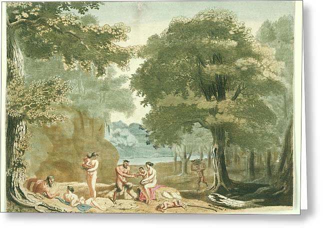Nymphs And Satyrs In A Landscape, Martinus Berkenboom Greeting Card by Martinus Berkenboom