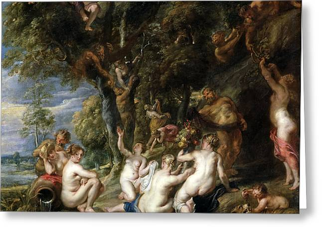 Nymphs And Satyrs Greeting Card