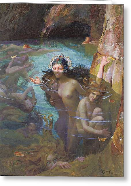 Nymphs At A Grotto Greeting Card by Gaston Bussiere