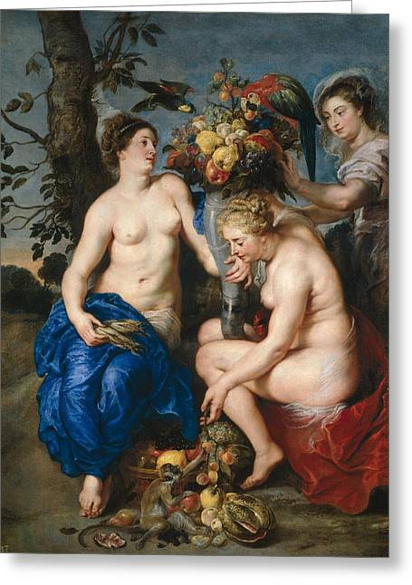 Nymphs With Cornucopia Greeting Card by Frans Snyders