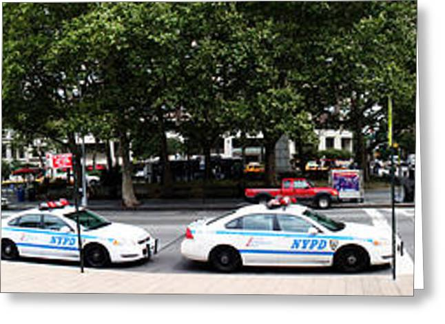 Nypd Cop Cars In Front Of Lincoln Center Greeting Card by Nishanth Gopinathan