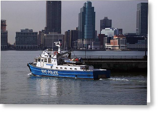 Nypd Patrol Boat Greeting Card by Richard Booth