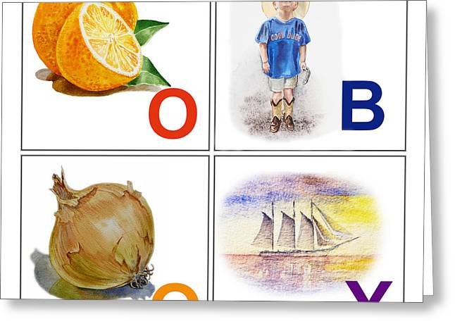 O Boy Art Alphabet For Kids Room Greeting Card by Irina Sztukowski