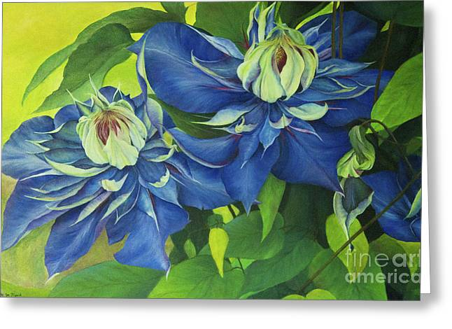 Greeting Card featuring the painting O Clematis by Jeanette French