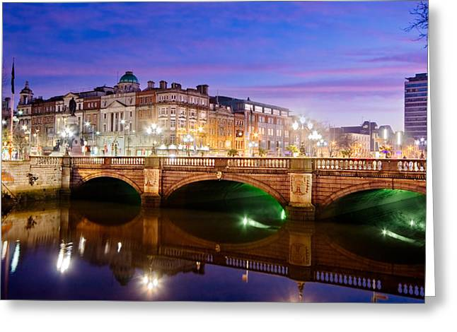 O Connell Bridge At Night - Dublin Greeting Card