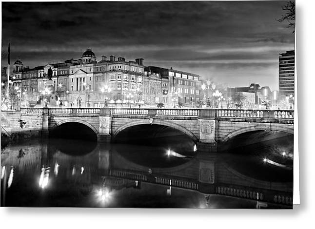 O Connell Bridge At Night - Dublin - Black And White Greeting Card