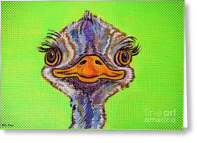 O For Ostrich Greeting Card by Ella Kaye Dickey