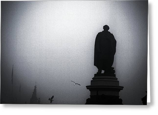 O O'connell Street Under Fog Greeting Card by Patrick Horgan