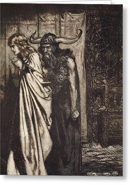 O Wife Betrayed I Will Avenge Greeting Card by Arthur Rackham