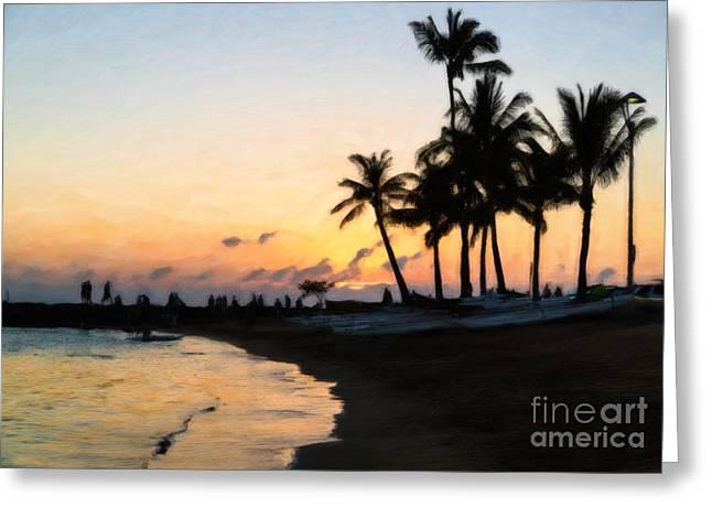 Oahu Sunset Greeting Card by Jon Burch Photography