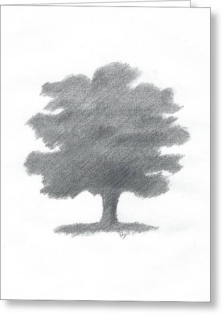 Oak Tree Drawing Number Seven Greeting Card by Alan Daysh