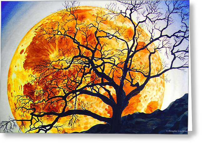 Oak Tree Moonrise Greeting Card