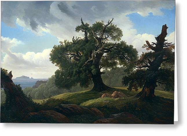Oak Trees By The Sea Greeting Card