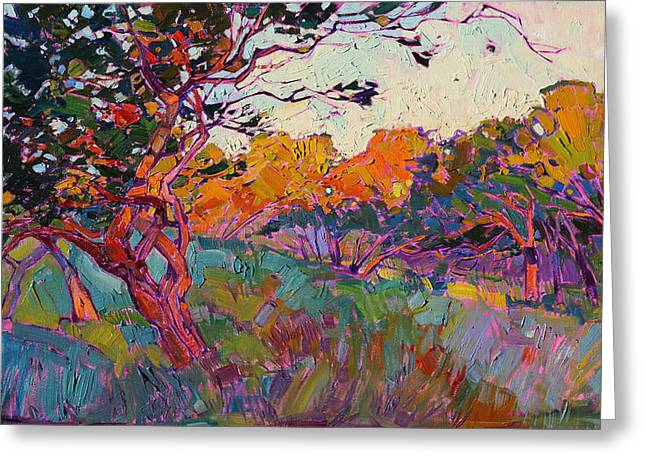 Greeting Card featuring the painting Oaken Light by Erin Hanson