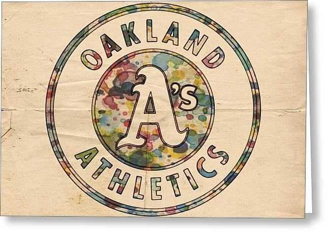 Oakland Athletics Poster Vintage Greeting Card by Florian Rodarte