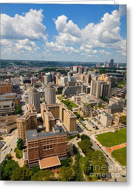 Oakland Pitt Campus With City Of Pittsburgh In The Distance Greeting Card by Amy Cicconi