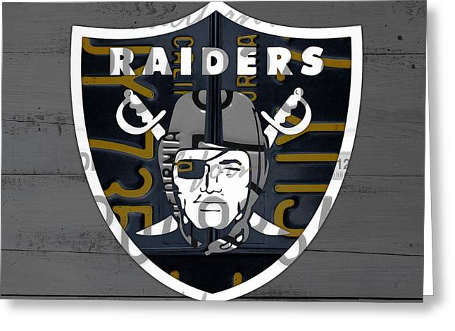 Oakland Raiders Football Team Retro Logo California License Plate Art Greeting Card by Design Turnpike