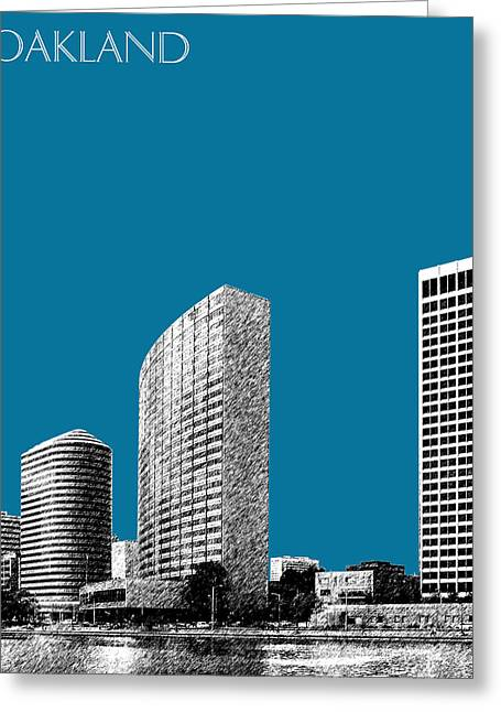 Oakland Skyline 2 - Steel Greeting Card by DB Artist