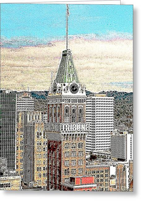 Oakland Tribune Building Oakland California 20130426 Greeting Card by Wingsdomain Art and Photography