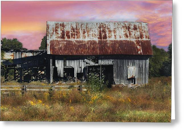 Oakwood Barn At Sunrise Greeting Card