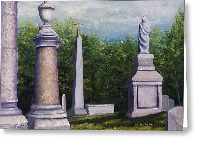 Greeting Card featuring the painting Oakwood Cemetery Jefferson Texas by Lenora  De Lude