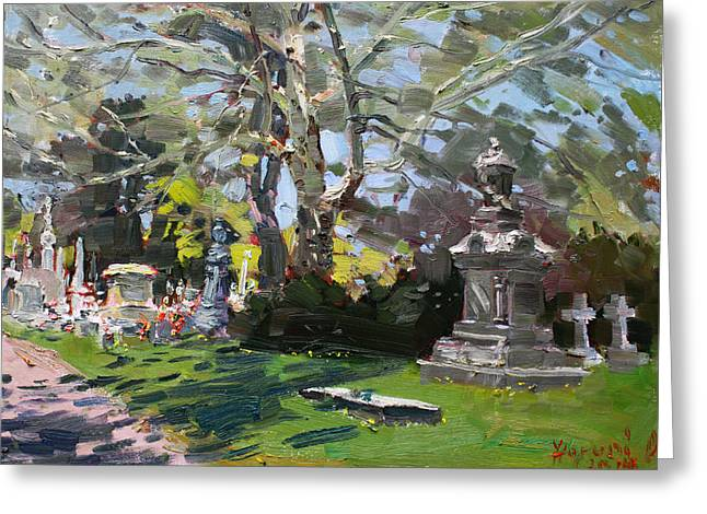 Oakwood Cemetery Greeting Card by Ylli Haruni