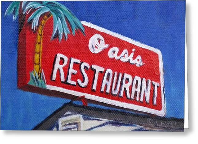 Oasis Restaurant Greeting Card by Katrina West