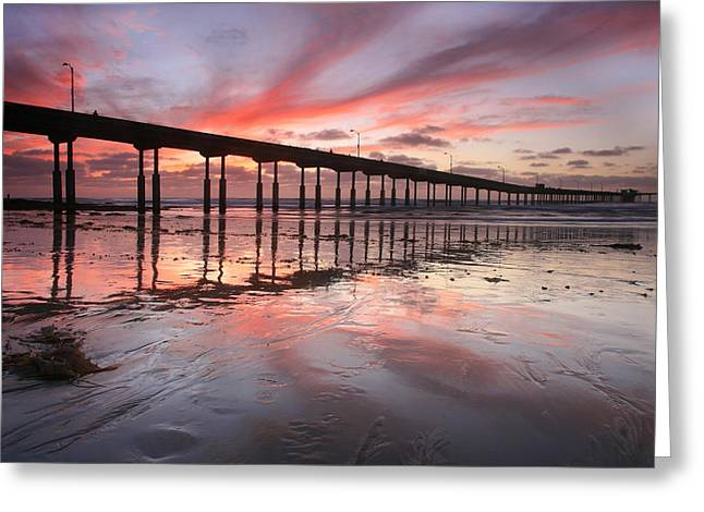 Ob Pier Reflection Sunset Greeting Card