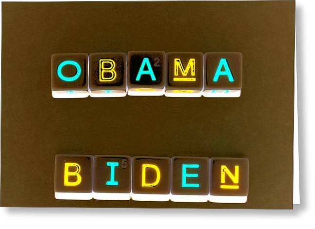 Obama Biden Words. Greeting Card by Oscar Williams