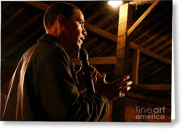 Obama Campaigning In 2007 At The Amanas Greeting Card