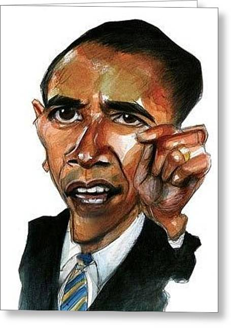 Obama Caricature Greeting Card by Gregory DeGroat