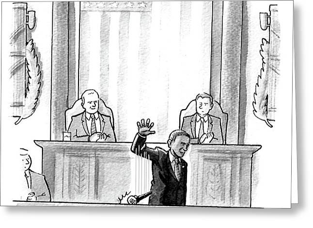 Obama Dropping A Mic Greeting Card