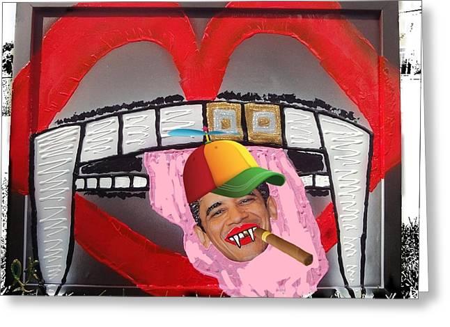 President Eddie Munster Vampire Ganster Rapper  Greeting Card
