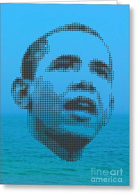 Obama On Ocean Greeting Card by Rodolfo Vicente