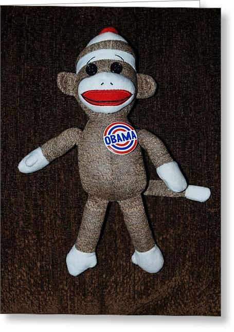 Obama Sock Monkey Greeting Card by Rob Hans