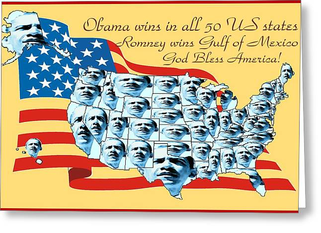 Obama Victory Map Us Election 2012 - Poster Art Greeting Card by Art America Gallery Peter Potter