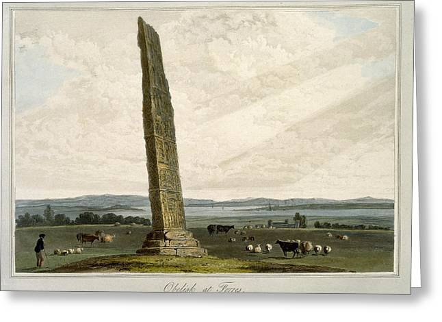 Obelisk At Forres, From A Voyage Around Greeting Card by William Daniell